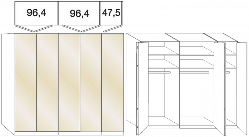 Wiemann Loft 5 Door Bi Fold Wardrobe in Oak and Magnolia Glass - W 250cm