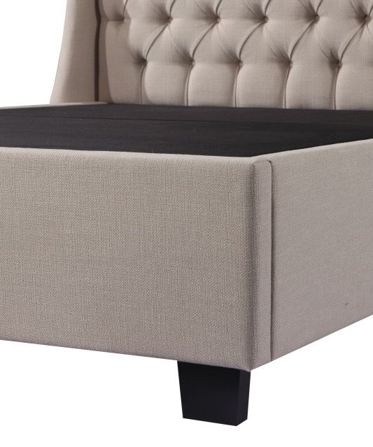 Urban Deco Duchess Oatmeal Fabric Ottoman Storage Bed