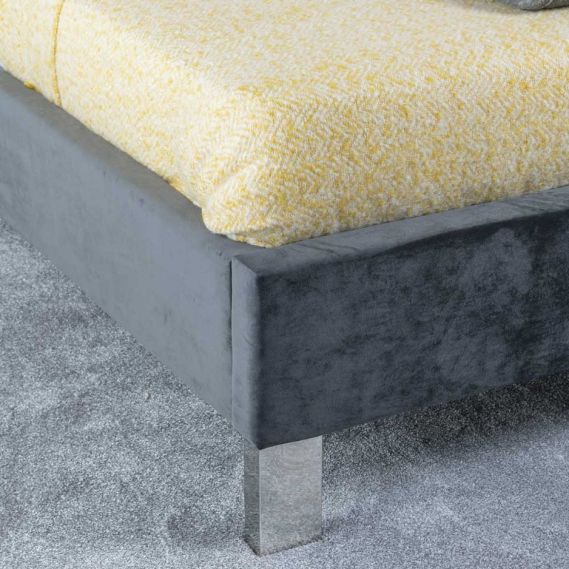 Urban Deco Monza Charcoal Grey Fabric 4ft 6in Double Bed