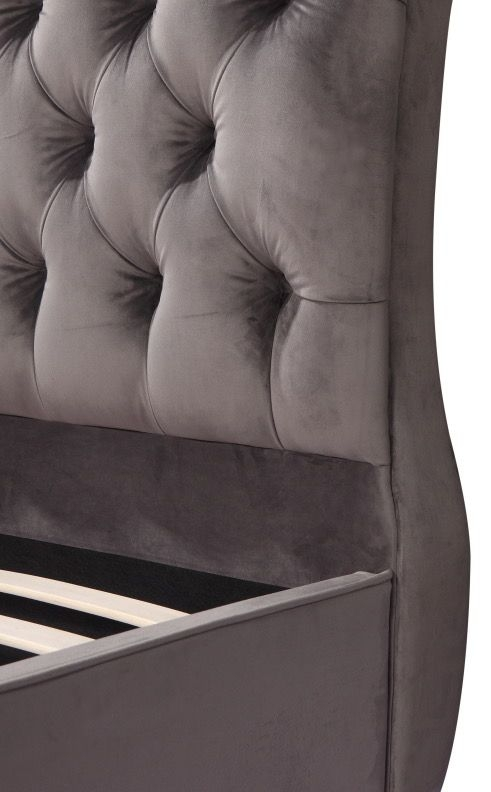 Urban Deco Ohara Grey Velvet Bed
