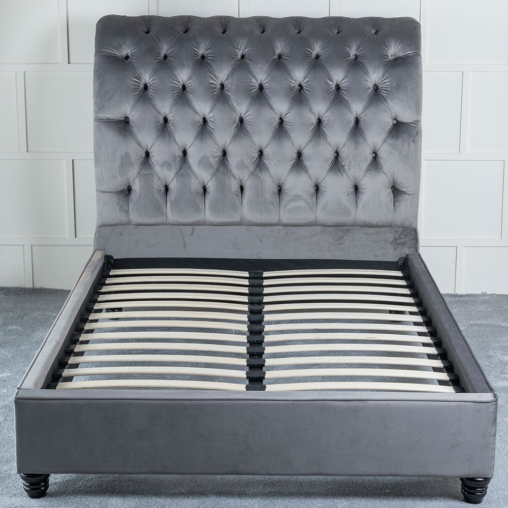 Urban Deco Ohara Grey Velvet 4ft 6in Double Bed