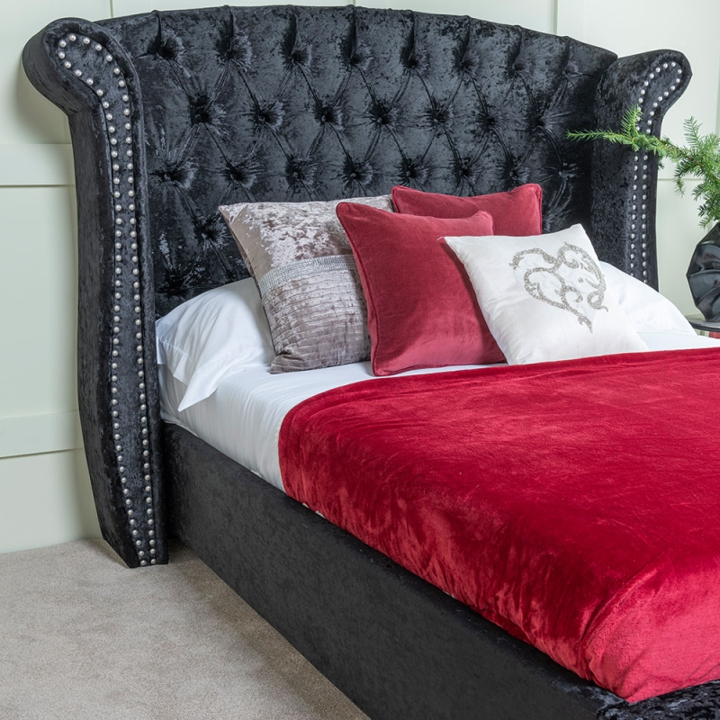Urban Deco Buckingham Black Velvet 4ft 6in Double Bed