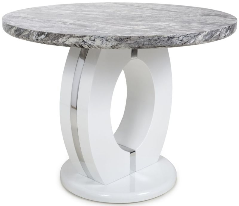 Shankar Neptune High Gloss White with Grey Marble Effect Round Dining Table