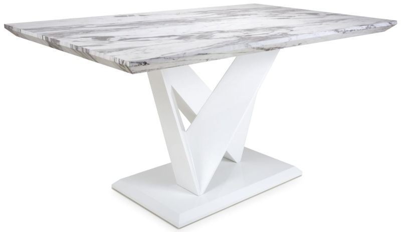 Shankar Saturn Grey and White High Gloss Marble Effect Dining Table