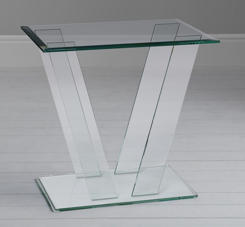 Greenapple Pure Glass Square Table with V Shape Base 59117