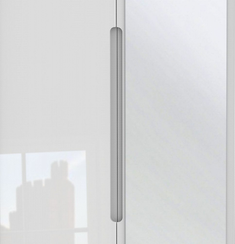 Monaco High Gloss White 3 Door 2 Left Drawer Tall Combi Wardrobe