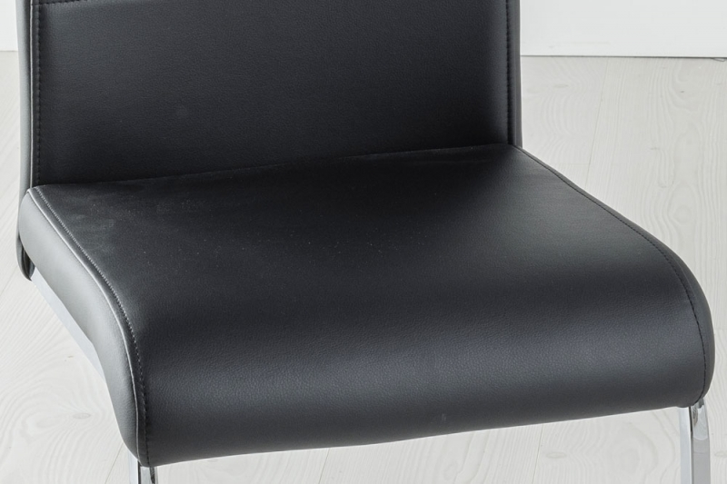Set of 4 Malibu Black Faux Leather Dining Chair