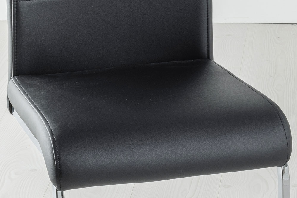 Set of 6 Malibu Black Faux Leather Dining Chair