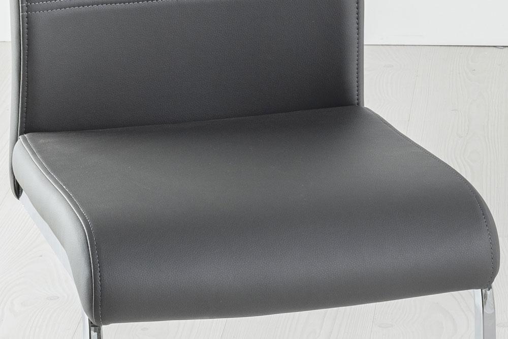 Set of 6 Malibu Dark Grey Faux Leather Dining Chair