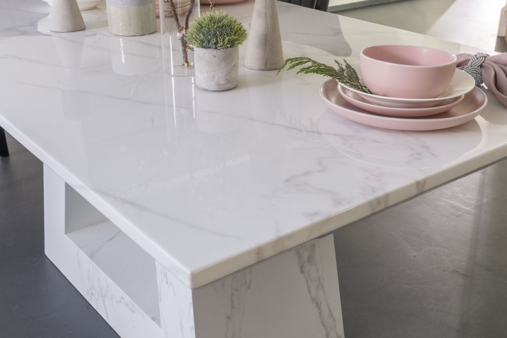 Buy Urban Deco Milan White Marble 200cm Dining Table with 4 Grey Knockerback Chairs and Get 2 Extra Chairs Worth £298 For FREE
