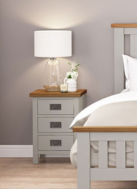 Global Home Devon Oak and Soft Cotton Painted Bedside Cabinet
