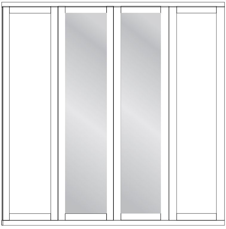 Wiemann Cambridge 4 Door Mirror Wardrobe in White - W 200cm
