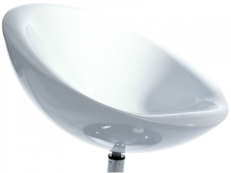Ryle Bowl Chair - White and Stainless Steel