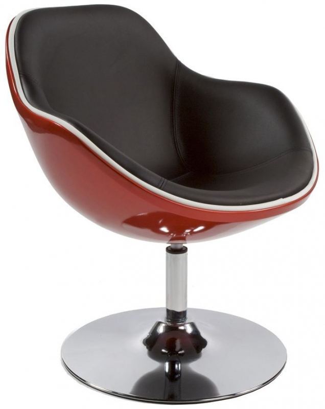 Amblar Faux Leather Chair - Red and Black