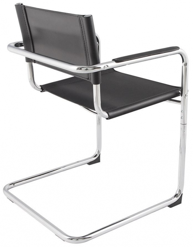 Borgen Faux Leather Dining Chair - Black and Stainless Steel