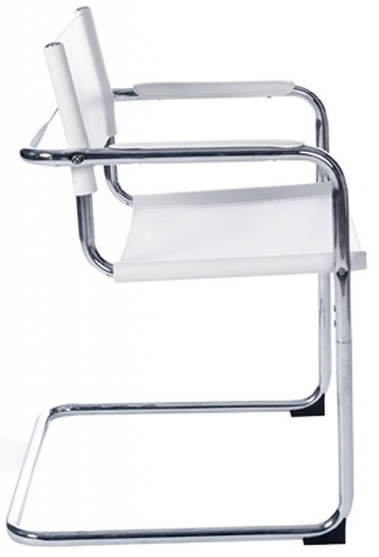 Borgen Faux Leather Dining Chair - White and Stainless Steel