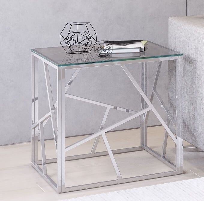 Kieta Side Table - Glass and Chrome