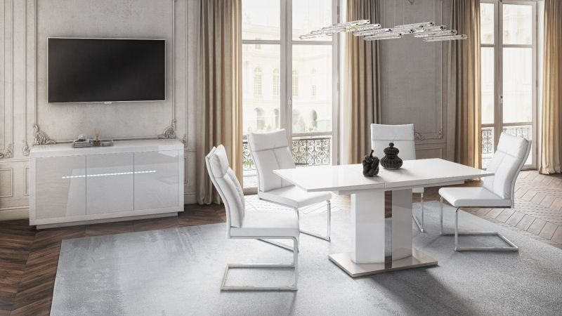 Rossi Cream Faux Leather Dining Chair (Pair)