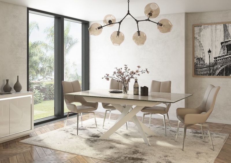 Luxor Extending Dining Table - Light Grey and White