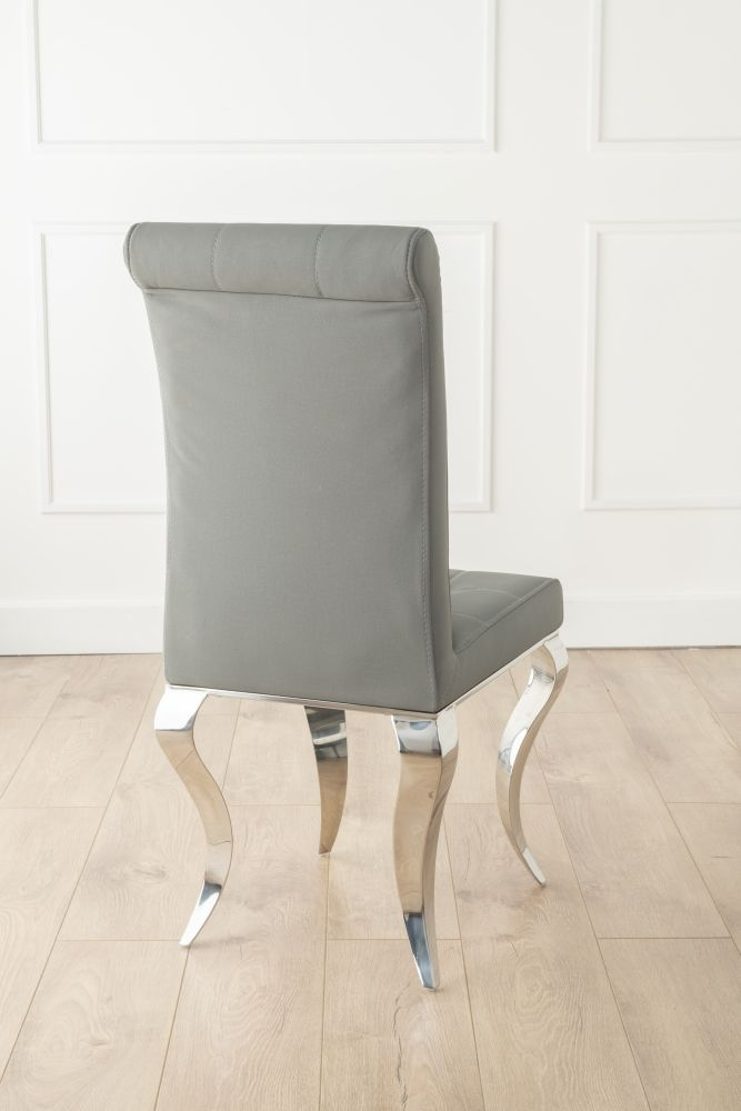 Urban Deco Luxor Grey Fabric Chrome Legs Dining Chair (Pair)