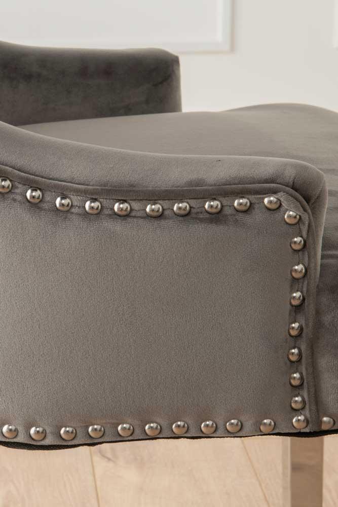 Grey Velvet Chrome Legs Knockerback Dining Chair (Pair)