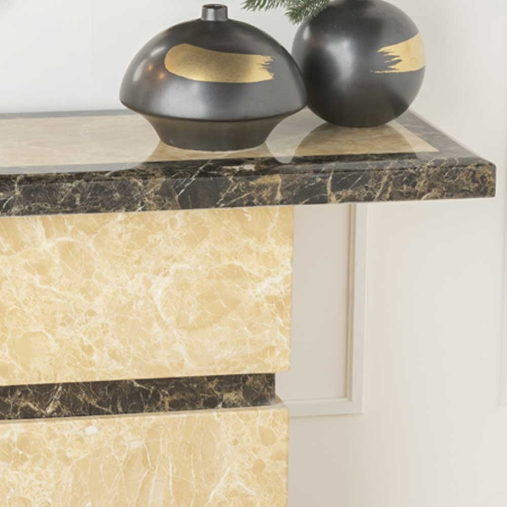 Urban Deco Venice Cream Marble Console Table