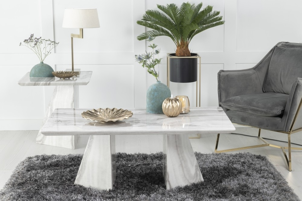 Urban Deco Midas Grey and White Marble Single Pedestal Lamp Table