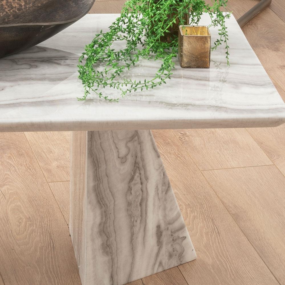 Urban Deco Midas White Marble Double Pedestal Coffee Table