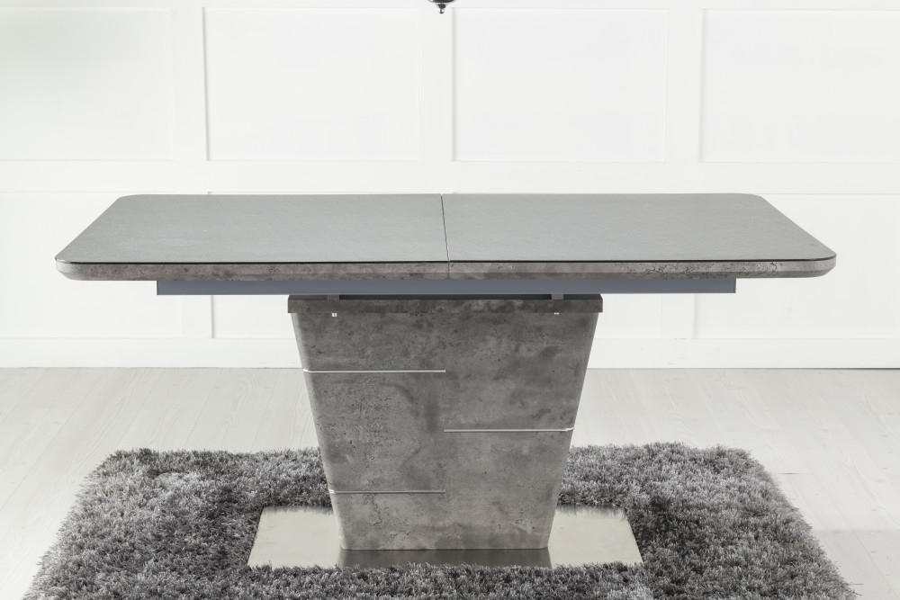 Urban Deco Rimini Ceramic Effect Black Glass 160-200cm Dining Table and 6 Malibu Black Chairs