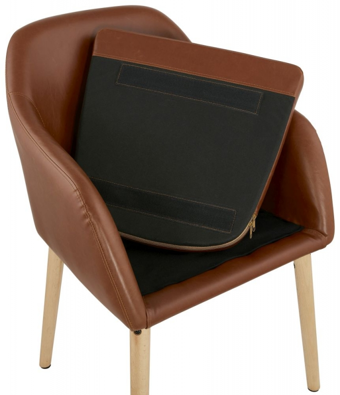 Dubris Brown Faux Leather Dining Chair