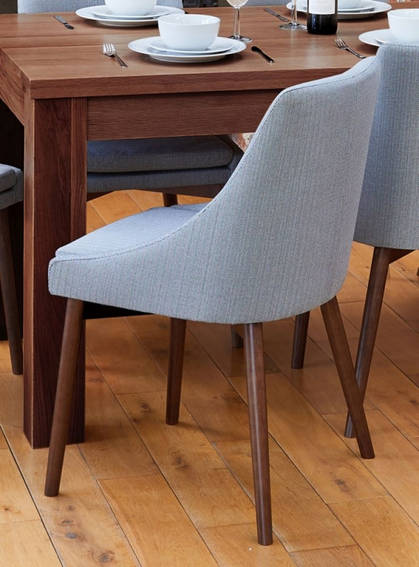 Baumhaus Shiro Walnut Dining Table and 4 Grey Fabric Dining Chairs