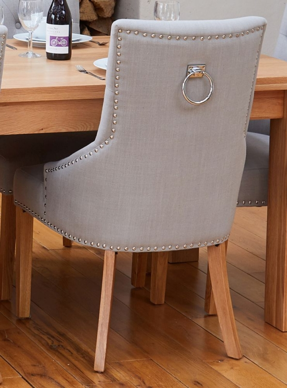 Baumhaus Mobel Oak Dining Table and 4 Accent Grey Fabric Dining Chairs