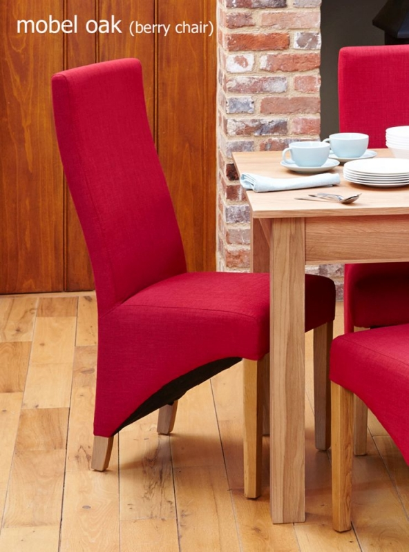 Baumhaus Mobel Oak Extending Dining Table and 6 Berry Fabric Dining Chairs