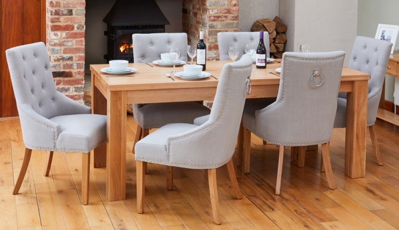 Baumhaus Mobel Oak Extending Dining Table and 6 Accent Grey Fabric Dining Chairs