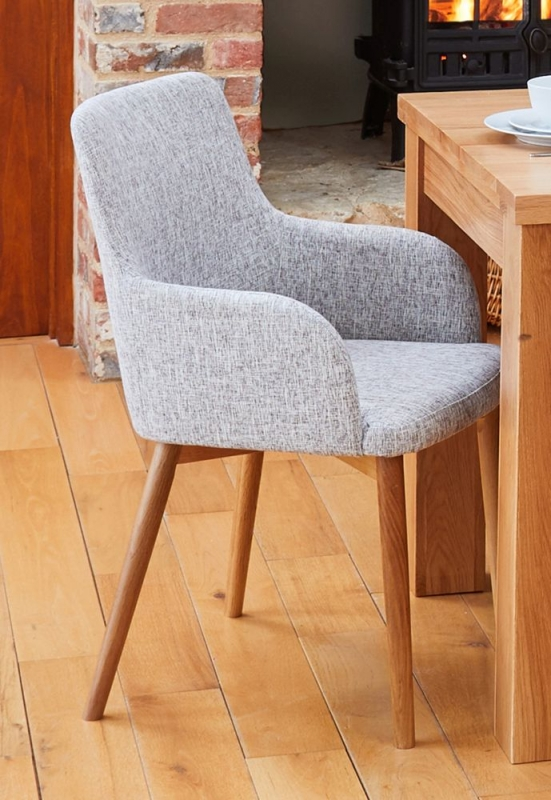 Baumhaus Mobel Oak Extending Dining Table and 6 Light Grey Fabric Dining Chairs