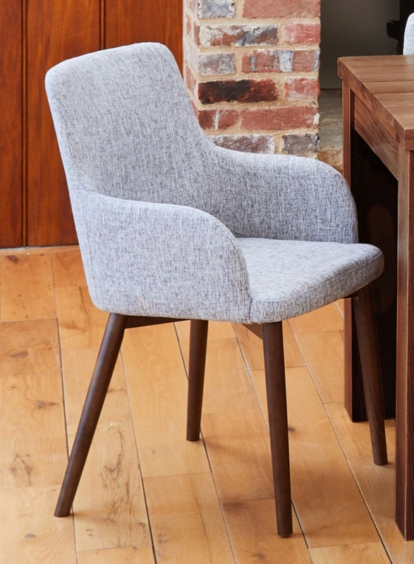 Baumhaus Mayan Walnut Extending Dining Table and 6 Light Grey Fabric Dining Chairs