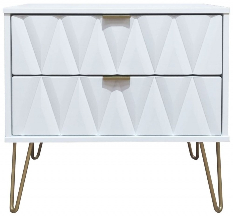 Clearance Half Price - Diamond White 2 Drawer Midi Chest with Hairpin Legs - New - D124