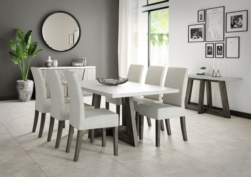 Corndell Austin Dining Table - Faux Concrete and Acacia