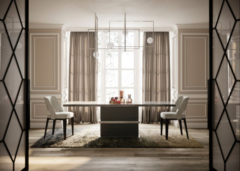 Stone International Saturn Light Dining Table - Marble and Polished Stainless Steel