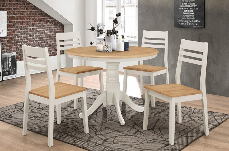 Vida Living Riina Round Dining Table - Oak and Taupe Painted