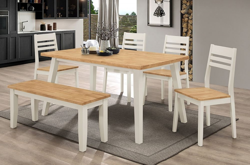 Vida Living Riina Large Dining Table - Oak and Taupe Painted