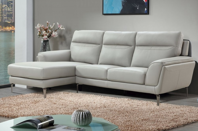 Vida Living Vitalia Grey Leather Left Hand Facing Corner Group Sofa
