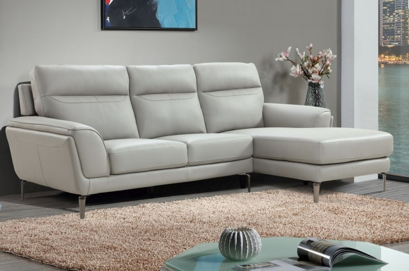 Vida Living Vitalia Grey Leather Right Hand Facing Corner Group Sofa