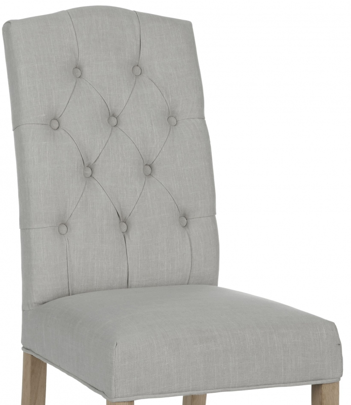 Corndell Daylesford Button Back Dining Chair - Oak and Cream (Pair)