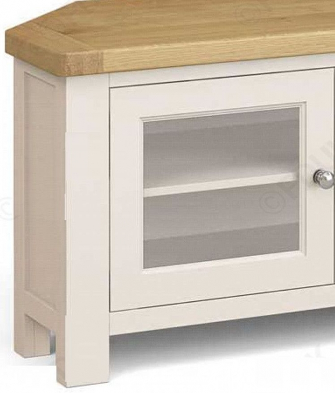 Corndell Daylesford 2 Door Corner TV Unit - Oak and Ivory