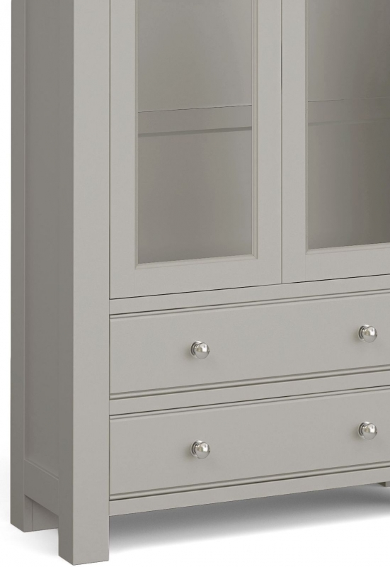 Corndell Daylesford 2 Door 2 Drawer Display Cabinet - Oak and Pebble Grey
