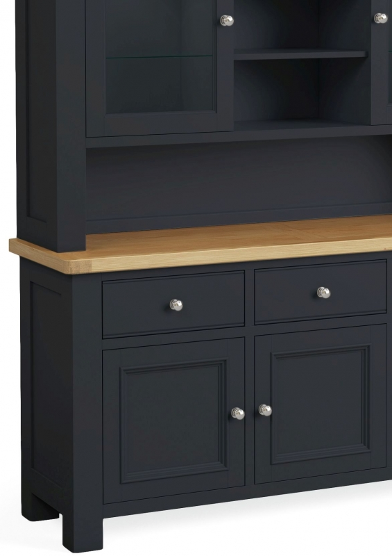 Corndell Daylesford 5 Door 3 Drawer Hutch Dresser - Oak and Charcoal