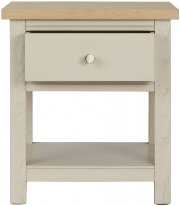 Corndell Woodstock 1 Drawer Lamp Table - Oak and Painted