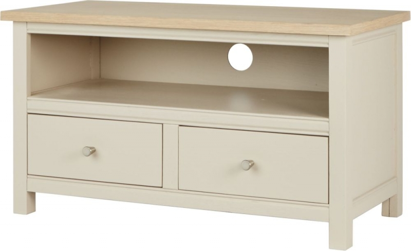 Corndell Woodstock 2 Drawer Small TV Unit - Oak and Painted