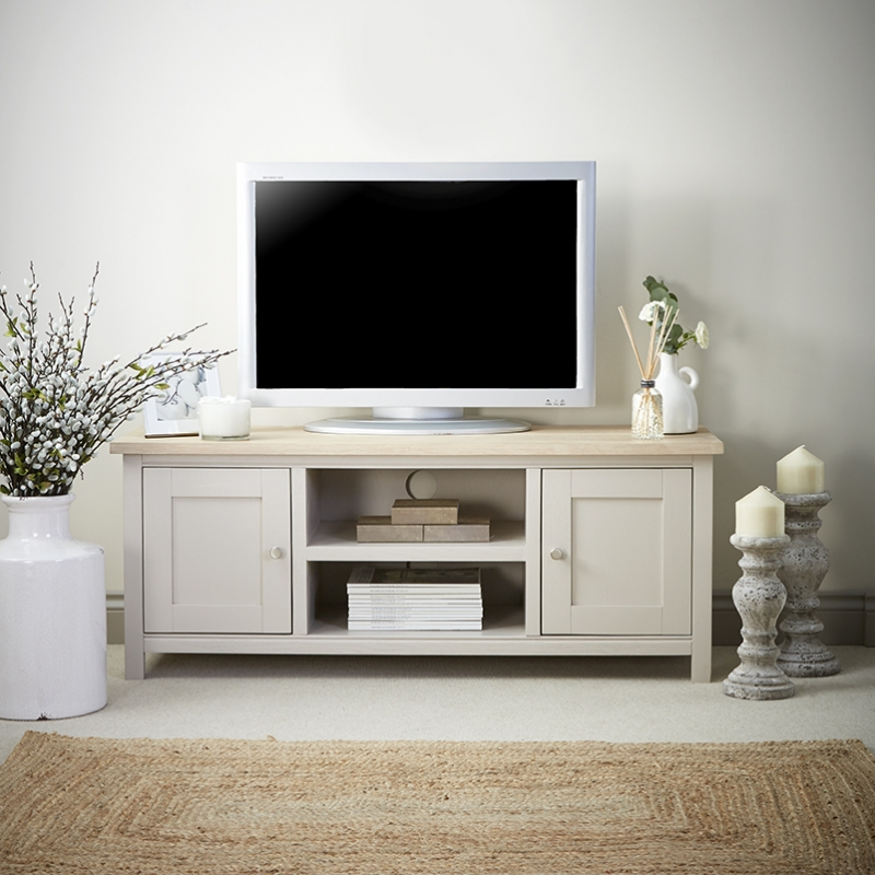 Corndell Woodstock 2 Door Large TV Unit - Oak and Painted